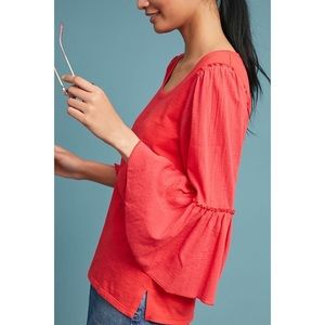 Anthropologie Bordeaux Foster Bell Sleeved Top Red